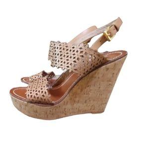 Tory Burch perforated daisy blush platform sandals